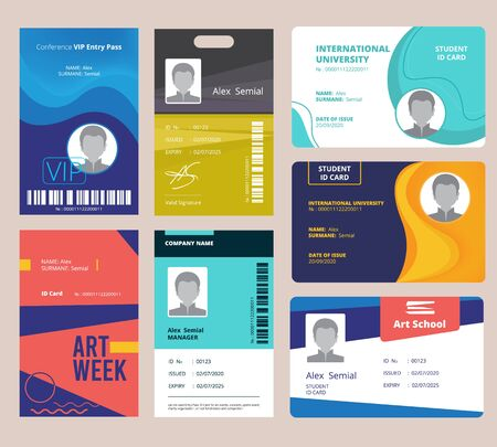 Id card template. Identification badge for male or female with name and signature vector design layout. Illustration identification id badge, plastic card identity
