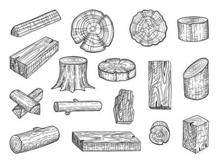 Lumber. Wooden trunks branch oak stacked log from tree vector hand drawn set. Lumber trunk wooden, hardwood oak, wood structure stump illustration Ilustração Vetorial