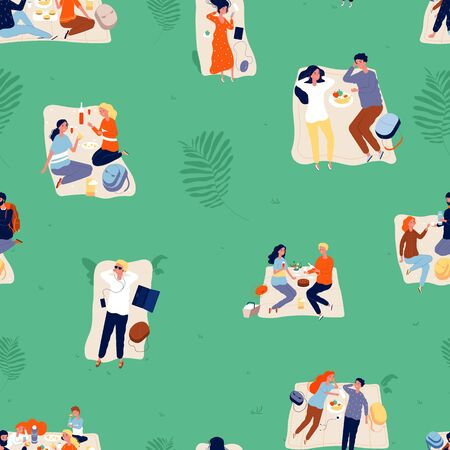Summer outdoor recreation background. Picnic, couples and family relax. Rest time, seasonal activity in park vector seamless pattern. Family pattern summer outdoor relax in park illustration