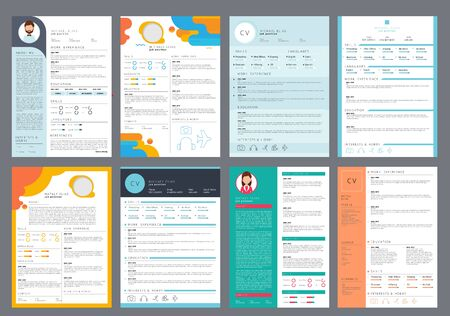 Resume design. Corporate business profile cv for printing vector curriculum page. Cv document, personal employment, page hiring illustration