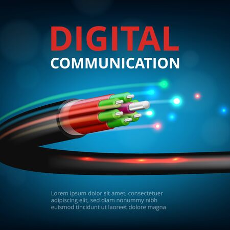 Optical fast connection. Future technology cyber internet communication vector realistic concept background. Speed, fast communication, cable optic network illustration Vettoriali