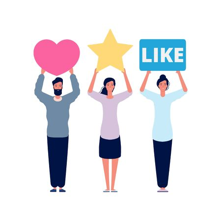 Rating and reviews. Social assessment scores, media emotional answers. People holding like heart and star vector symbols. Rating feedback score, man and woman hold review classification illustration 向量圖像