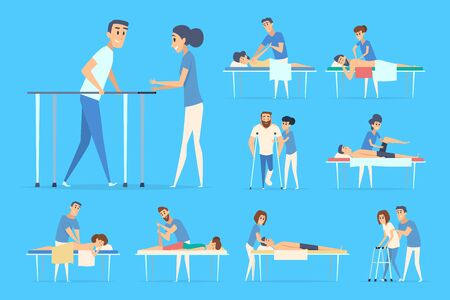 Physiotherapy people. Stretching sport exercises chiropractic remedial massage doctors and patients vector therapy procedures. Medical rehabilitation, physiotherapist care patient illustration