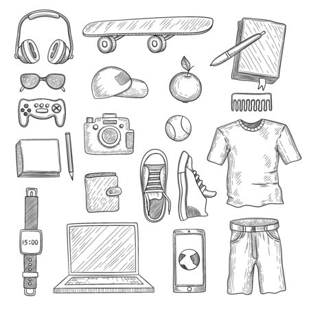Teenage accessories. Young person stuff elements wardrobe items modern clothes headphones gadgets vector hand drawn set. Teen clothes, things stuff, hand drawn, teenage headphone gadget illustration