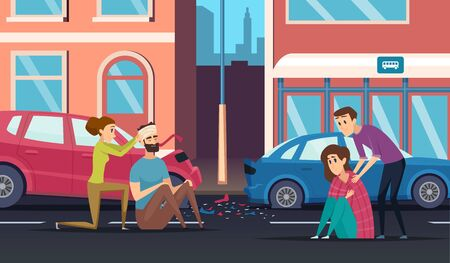First aid. Road accident personal helping person to car or cycling driver medicine vector cartoon background. Accident road, automobile crash and people help driver illustration
