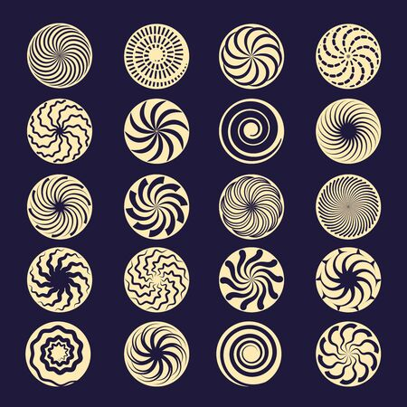 Hypnotic spiral. Black radial motion shapes twirl stroke vector elements. Hypnotic circular graphic, motion swirl, round and spiral illustration