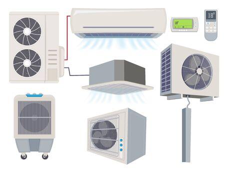 Blow filter. Air conditioner ventilation systems home wind tools vector cartoon illustration. Air system conditioning, airconditioner ventilation Stock Illustratie