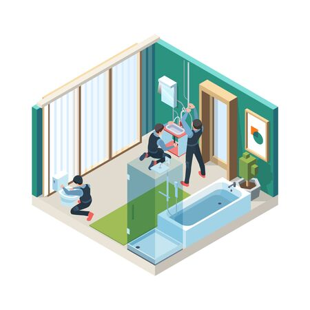Repair bathroom. Plumber workers install pipelines in washing room vector concept pictures isometric. Plumber isometric handyman, craftsman installing, sanitary industry illustration Çizim