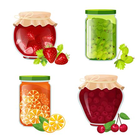 Jam jars. Marmalade sugar healthy fruits dessert in pot jamming strawberry kiwi cherries vector cartoon collection. Jam sugar dessert, healthy marmalade preserve illustration