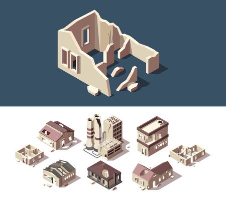 Broken houses. Isometric set of abandoned buildings real estate broken destroy windows ruins town vector set. Building architecture factory, broken town illustration