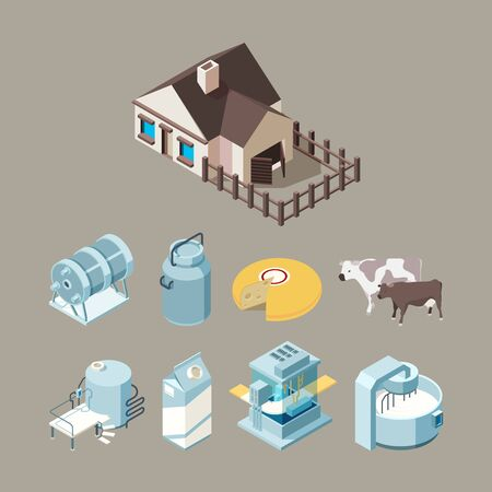 Milk food factory. Dairy healthy farm products cheese milk yogurt production technology vector isometric. Illustration industry farm factory milk and dairy fresh