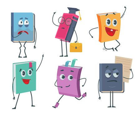 Books characters. Cartoon funny faces of old books opened and closed vector mascot collection. Childish smile books, school mascot expression Vectores