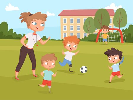 Disability kids. People playing and make sport exercises at lesson with teacher vector disability persons. Disabled boy play together, disability kids illustration Vector Illustratie