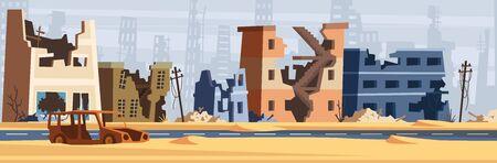 War zone. Damaged city destroy environment broken buildings and road destruction collapsed world vector cartoon background. City building damage after disaster illustration