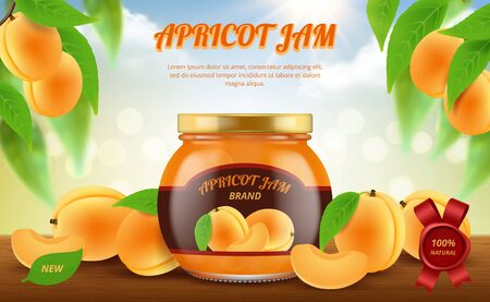 Jam ads. Traditional food in glass jar jamming marmalade products vector promotional placard template. Apricot jam dessert, marmalade fruit organic illustration