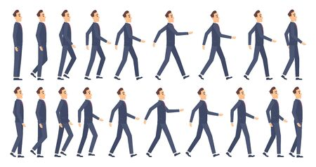 Walking animation. Business characters 2d animation key frames game cartoon sprite vector mascot. Illustration animation man walk, male worker character