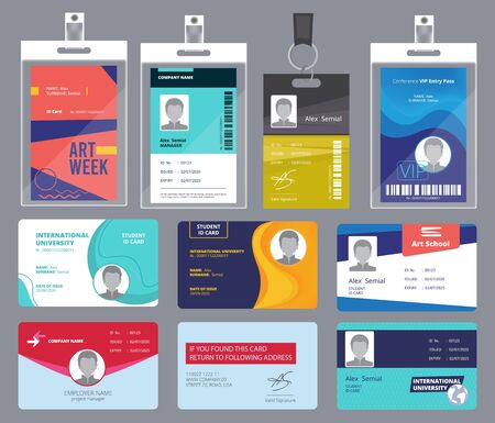 Personal card id. Male or female passport or badges personal office manager business tags vector design template. Personal identity for security, id personalize illustration