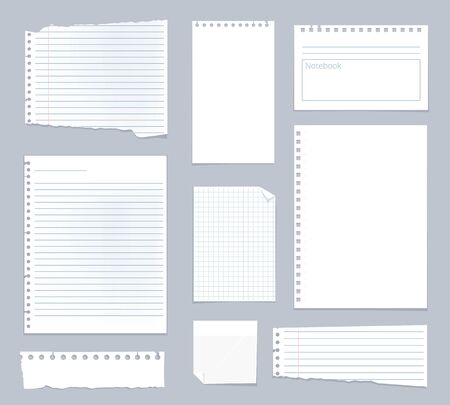 Note papers. Lined notes set stripe sheets vector notebook template. Illustration notebook paper sheet, striped page for note