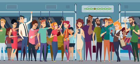 Subway rush hour. Crowd in urban metro daily rushing people going to the work travellers in train with phone and books vector cartoon characters. Illustration crowd metro city, public transport subway