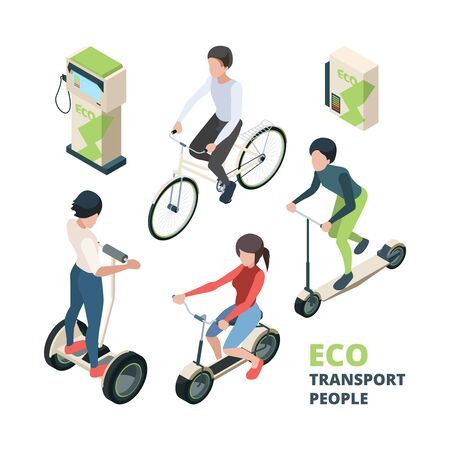 ECO transport people. 3D bicycle electric car urban vehicle bike  vector isometric illustrations. Isometric scooter, street friendly vehicle, ecologic bicycle