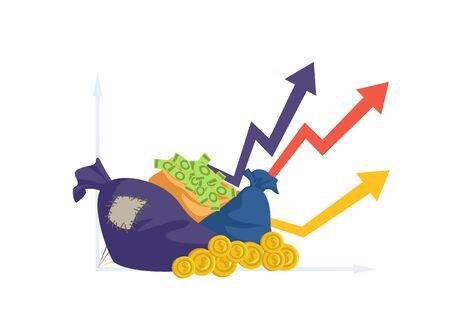 Financial performance. Money bag, coins and cash. Business success, investments profit vector illustration. Cash graph, success income money, financial revenue 向量圖像
