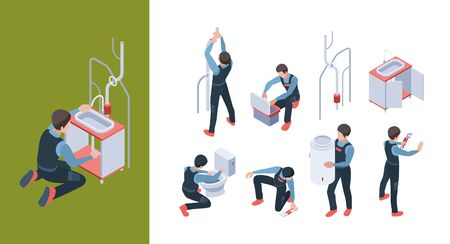 Plumbing service. Install pipelines fixing and repair bathroom toilet vector isometric illustration. Bathroom fixing, washbasin installing by handyman