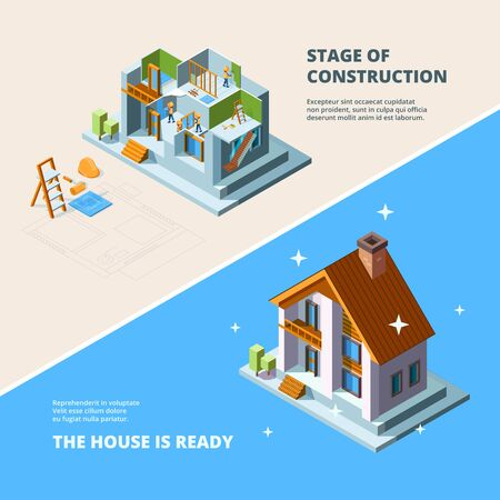 House construction. Repair roof renovation building vector isometric picture for banners. Renovation house, construction home, repair residential building illustration