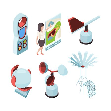 Weather equipment. Meteorologic station observing office forecast presenter place vector isometric set. Weather equipment measurement, temperature meteorology illustration