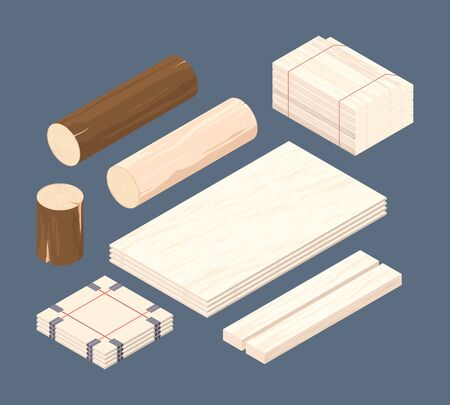 Wooden isometric. Set of stacked lumber branches pile logging timbers vector pictures. Woodworking isometric material 3d, stack pile wooden illustration