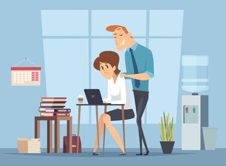 Office harassment. Sexual molestation on workplace. Leader and female worker, management vector illustration. Harassment female at workplace, work problem