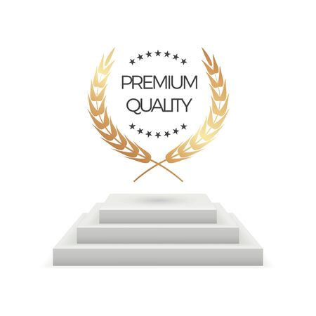 Premium quality. Realistic podium and laurel. Isolated award pedestal stage with golden wreath vector illustration. Golden realistic insignia, award wreath laurel trophy 向量圖像