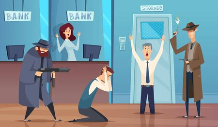 Robbery bank. Masked bandit gangster robbery money cash bad security service vector cartoon background. Bank robbery, crime robber, bandit and thief illustration