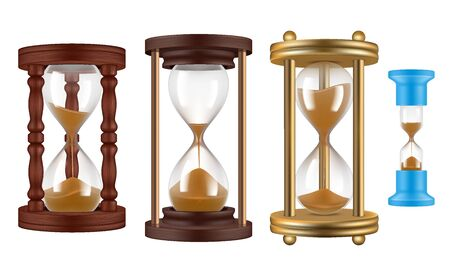 Sand watches. Retro hourglasses vintage history clocks management object realistic illustrations. Hourglass and clock, sand watch time, hour glass and countdown