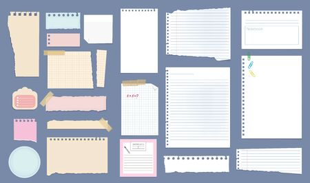 Paper notes. Copybook linear pages lists of notebooks different sizes stripped notes vector. Sheet paper stationery, checkered note page, notepaper different illustration