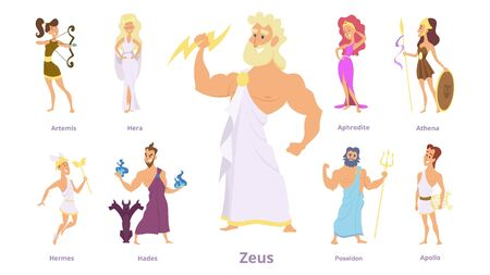 Greek gods. Ancient religion, greece history. Zeus, athena, poseidon character. Isolated cartoon mythology goddess vector illustration. Greek goddess, ancient mythology and religion in greece