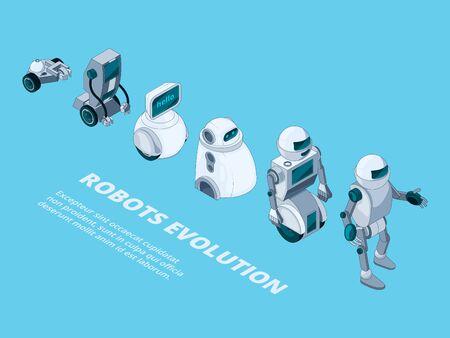 Robots evolution. digital metal characters isometric robotic development vector. Robot future progress, evolution futuristic computer illustration 向量圖像