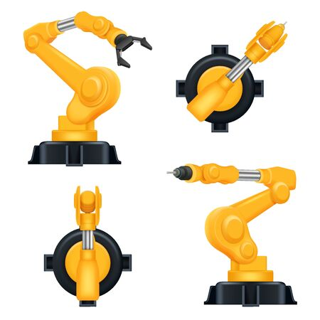 Robotic arms. Industrial machinery factory mechanic hydraulic crane for steel industry automation processes vector realistic robots. Robotic arm engineering, automation industry hydraulic illustration
