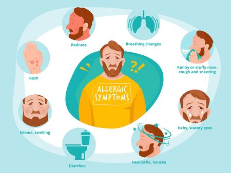Allergic symptoms. Infected human sneezing infections sick asthma toilet vector infographic illustrations. Allergic symptom infected and sneezing bronchial asthmatic