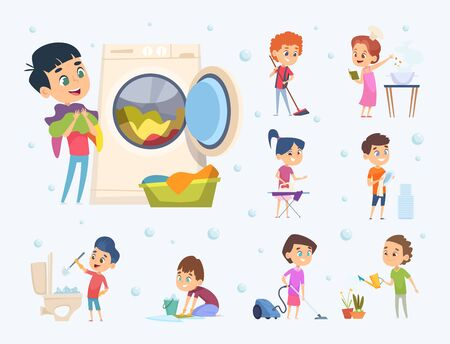 Children housework. Little kids boys and girls helping sweeping showering floor wash furniture and toys vector cartoon. Housework and housekeeping, chores clean illustration