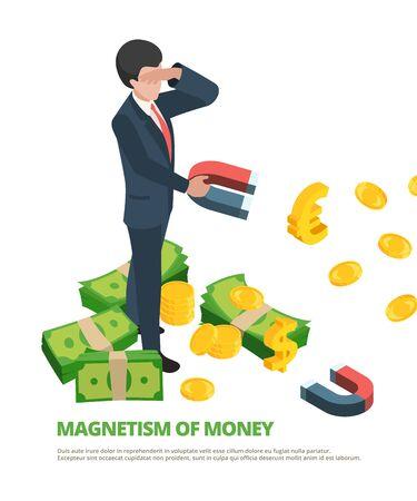 Magnet money. Business connection financial dollar magnetism vector isometric concept. Business magnet finance, magnetic cash illustration Stock Illustratie