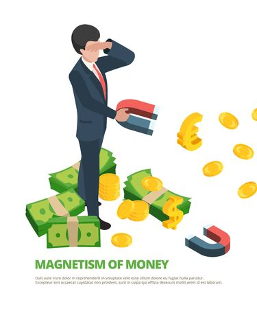 Magnet money. Business connection financial dollar magnetism vector isometric concept. Business magnet finance, magnetic cash illustration Illustration