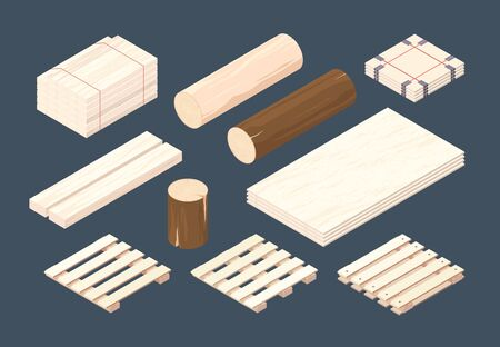 Wooden pallet. Isometric cargo containers and packages timber vector wooden set. Cargo pallet fot transportation isometric, storage and delivery illustration