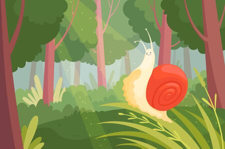 Snails in wood. Slime slow moving on green grass in wood nature animal garden snail vector illustration. Snail in forest, animal character floral, graphic slug