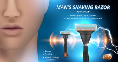 Razor ads. Advertizing poster of blades for woman depilation sharp shaves vector background. Illustration shave ad, face male and razor  イラスト・ベクター素材