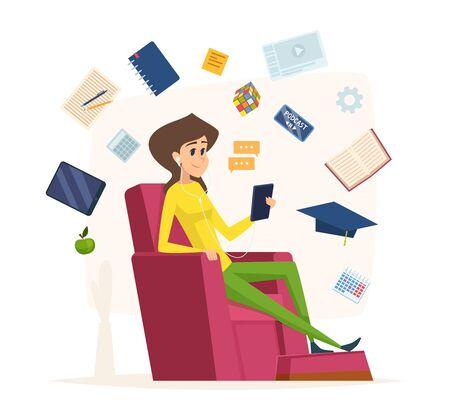 Online education. Character listen headset music reading audio books university studies vector concept. Illustration online book audio, training program studying and listening  イラスト・ベクター素材