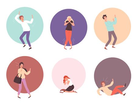 Scared people. Horrified attack characters in action poses reaction on face scared emotions vector persons. Scared person, panic and phobia, fear afraid illustration Illustration
