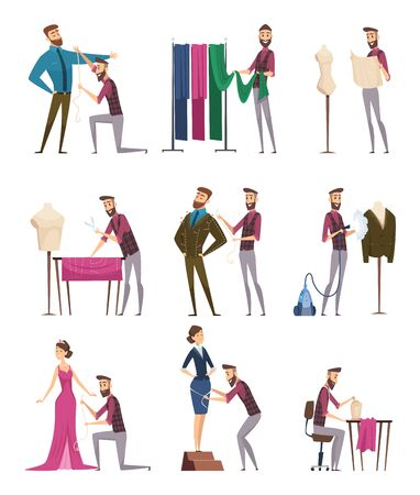 Tailor characters. Fabric sewing workings in atelie dressmaker people vector cartoon illustrations. Craft atelier, character dressmaker, sewing and dressmaking