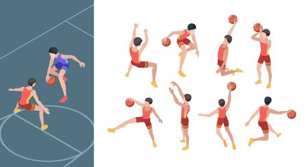 Basketball game. Sport players in active action poses isometric basketball gamers vector set. Basketball game, basket professional athlete illustration