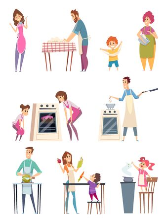 Family cooking. Happy characters couple parents kids preparing food bakery professional chef in kitchen vector. Family happy cooking, cook together at kitchen illustration