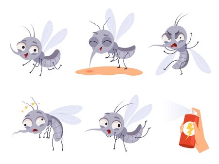 Mosquito cartoon. Warning flying insects dangerous little animals vector illustrations. Insect animal bite, pest gnat and mosquito collection  イラスト・ベクター素材